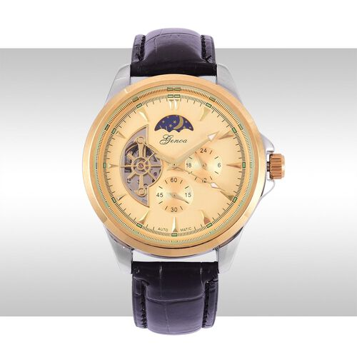 GENOA Automatic Skeleton Golden Dial Water Resistant Watch in Gold Tone with Stainless Steel Back and Black Colour Strap