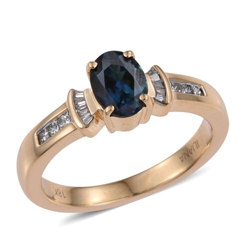 ILIANA 18K Yellow Gold AAA Very Rare Monte Belo Indicolite (Ovl 1.05 Ct), Diamond (SI G-H) Ring 1.250 Ct.