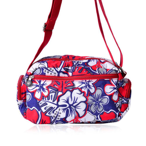 Pink, Blue and Multi Colour Floral Pattern White Colour Sports Bag With External Zipper Pocket and Adjustable Shoulder Strap (Size 25x18x10 Cm)