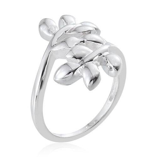 Sterling Silver Leaves Crossover Ring, Silver wt 4.13 Gms.