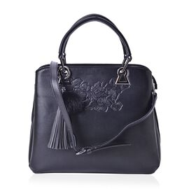 PREMIER COLLECTION Floral Embossed Black Tote Bag With Adjustable and Removable Shoulder Strap (Size 30x27.5x26x12 Cm)
