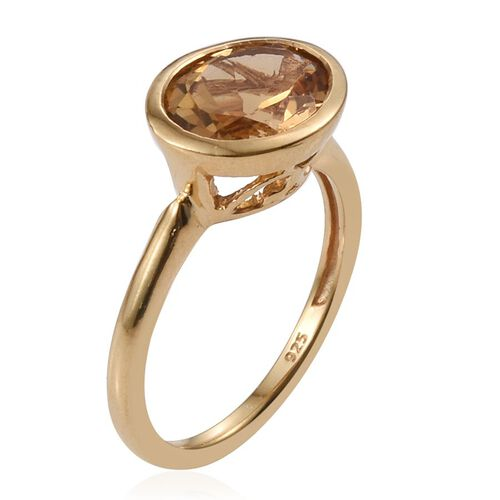 Citrine (Ovl) Solitaire Ring in 14K Gold Overlay Sterling Silver 2.250 Ct.