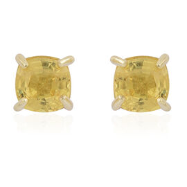 Ceylon Yellow Sapphire (Cush) Stud Earrings in 14K Gold Overlay Sterling Silver 1.250 Ct.