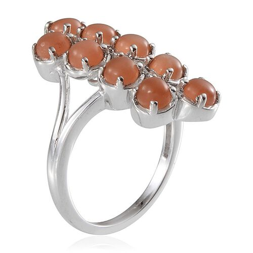Mitiyagoda Peach Moonstone (Rnd) Ring in Platinum Overlay Sterling Silver 3.250 Ct.