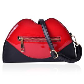 Ture Red Lip Design Crossbody Bag with Adjustable and Removable Shoulder Strap (Size 23x15x6 Cm)