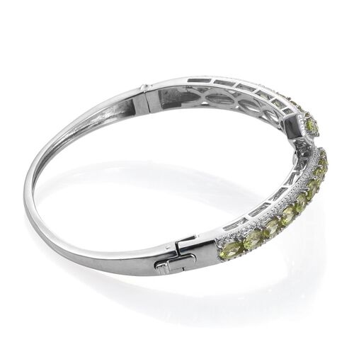 Hebei Peridot (Ovl) Bangle (Size 7.5) in ION Plated Platinum Bond 6.250 Ct.