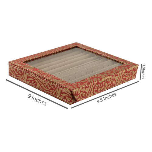 Hand Crafted - Eco Leatherette Tiger and Leopard Pattern Red and Golden Colour Ring and Earrings Storage Box (Size 24x22x4 Cm)