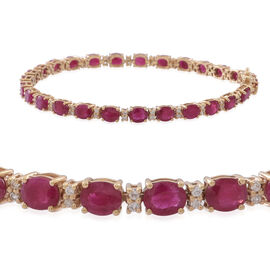 9K Y Gold Burmese Ruby (Ovl), Natural Cambodian White Zircon Bracelet (Size 7.5) 11.500 Ct.