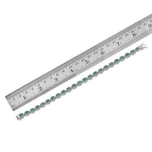 Kagem Zambian Emerald (Ovl), Diamond Bracelet in Platinum Overlay Sterling Silver (Size 8) 9.750 Ct.