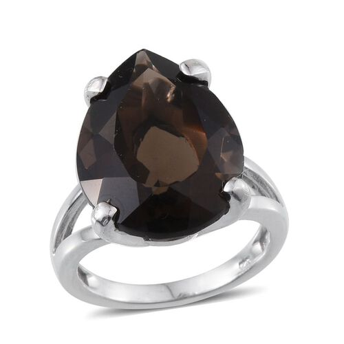 Brazilian Smoky Quartz (Pear) Solitaire Ring in Platinum Overlay Sterling Silver 13.250 Ct.