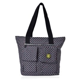Designer Inspired Black and White Colour Diamond Pattern Hand Bag With External Pocket (Size 40x30x11 Cm)