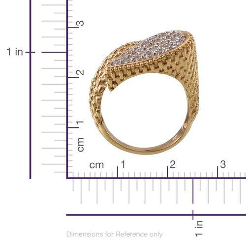 J Francis - 14K Gold Overlay Sterling Silver (Rnd) Crossover Ring Made With SWAROVSKI ZIRCONIA