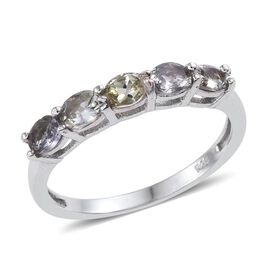 Bondi Blue Tanzanite (Ovl) 5 Stone Ring in Platinum Overlay Sterling Silver 0.750 Ct.