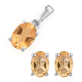 Citrine (Ovl 1.00 Ct) Solitaire Pendant and Stud Earrings (with Push Back) in Platinum Overlay Sterling Silver 2.500 Ct.