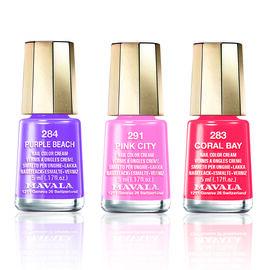 MAVALA- Trio Nail Polish- Inspiration 1- 291 Pink City, 283 Coral Bay and 284 Purple Beach.