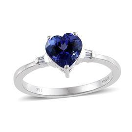 ILIANA 18K White Gold 1.50 Carat AAA Tanzanite Heart Ring With Diamond SI G-H