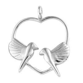 Platinum Overlay Sterling Silver Love Birds in Heart Pendant, Silver wt 4.55 Gms.