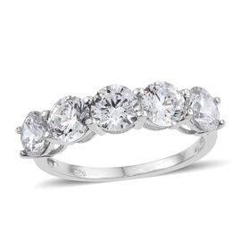 J Francis - Platinum Overlay Sterling Silver (Rnd) 5 Stone Ring Made with SWAROVSKI ZIRCONIA