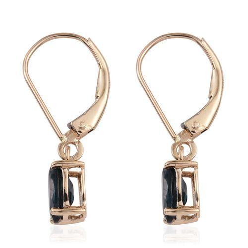 ILIANA 18K Y Gold Monte Belo Indicolite (Ovl) Lever Back Earrings 1.500 Ct.
