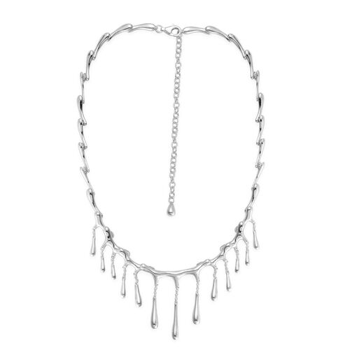 LucyQ Large Drip Necklace (Size 16 with 4 inch Extender) in Rhodium Plated Sterling Silver 43.00 Gms.