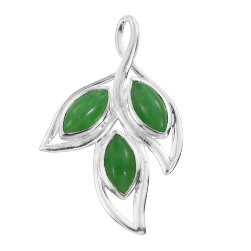 Green Jade (Mrq) Trilogy Pendant in Sterling Silver 3.750 Ct.