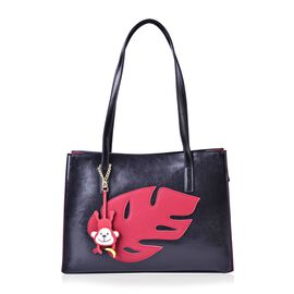 LIMITED COLLECTION Genuine Leather Red Leaf Pattern Black Colour Tote Bag with Monkey Charm (Size 35x24x11 Cm)