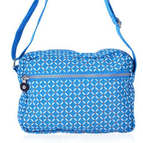 Blue Colour Diamond Pattern Waterproof Sports Bag with External Zipper Pocket and Adjustable Shoulder Strap (Size 22X16X6 Cm)