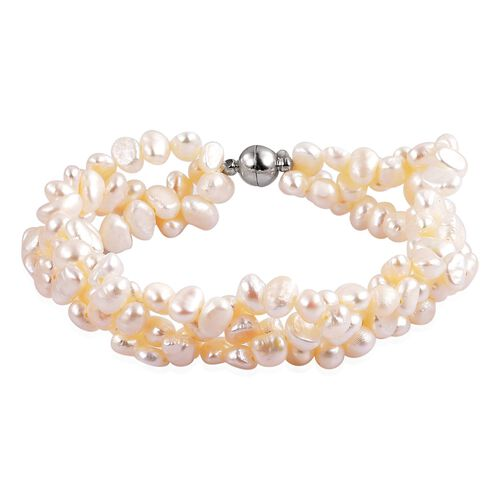 Fresh Water White Pearl (5-6mm) Bracelet (Size 8.5) in Silver Tone with Magnetic Clasp