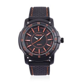 STRADA Japanese Movement Black Colour with Orange Marks Dial Water Resistant Watch in Black Tone with Stainless Steel Back and Black Colour Rubber Strap