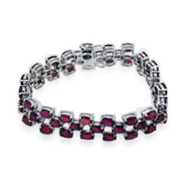 African Ruby (Ovl) Bracelet ((Size 7.25) ) in Rhodium Plated Sterling Sterling Silver 52.500 Ct.