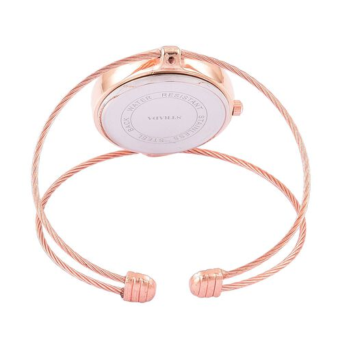 STRADA Japanese Movement Bangle Watch in Rose Gold Tone with Stainless Steel Back