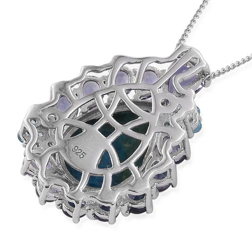 Natural Rare Opalina (Pear 4.40 Ct), Iolite and Signity Pariaba Topaz Pendant with Chain in Platinum Overlay Sterling Silver 6.750 Ct.