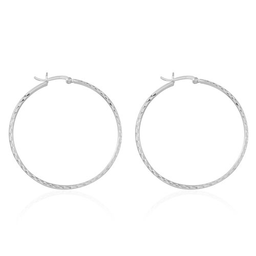 Thai Sterling Silver Diamond Cut Hoop Earrings (with Clasp), Silver wt 5.95 Gms.