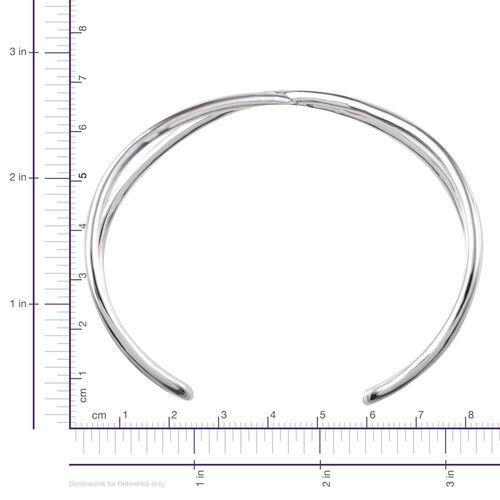 ION Plated Platinum Bond Cuff Bangle (Size 7.5)