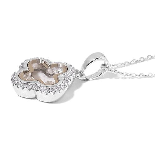 ELANZA AAA Simulated White Diamond Pendant with Chain in Rhodium Plated Sterling Silver