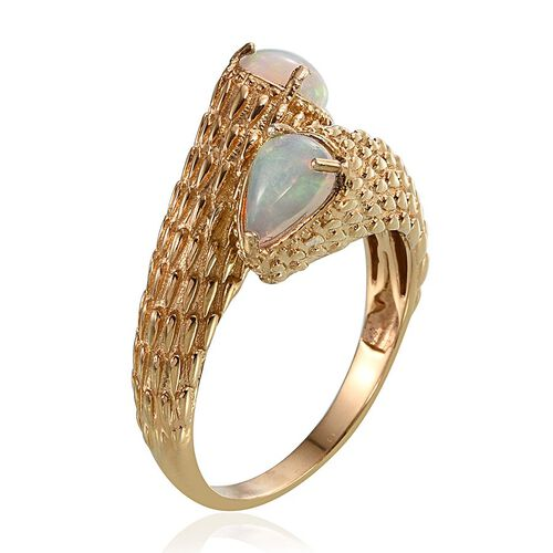 AA Ethiopian Welo Opal (Pear) Crossover Ring in 14K Gold Overlay Sterling Silver 1.500 Ct.