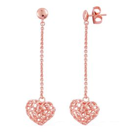 RACHEL GALLEY Rose Gold Overlay Sterling Silver Amore Heart Lattice Drop Earrings (with Push Back), Silver wt 5.66 Gms.