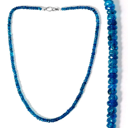 Malgache Neon Apatite Beads Necklace (Size 18) in Sterling Silver 63.000 Ct.
