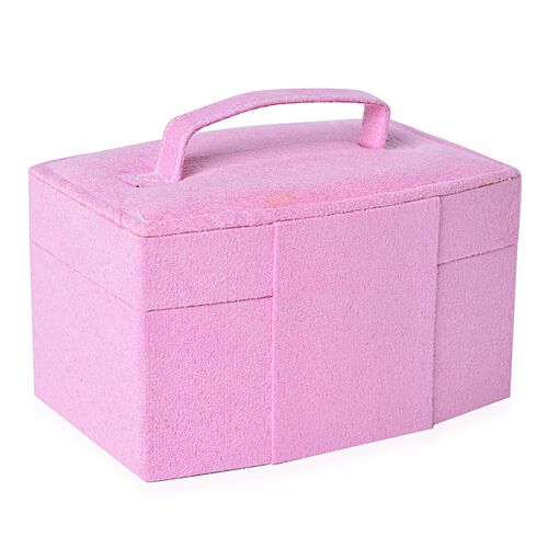 Pink Colour Velvet 2 Layer Jewelley Box with Mirror Inside (Size 15.3x11x8.8 Cm)