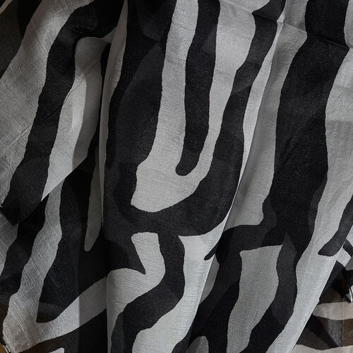 100% Mulberry Silk Black and White Colour Zebra Hand Screen Printed Scarf (Size 180X50 Cm)