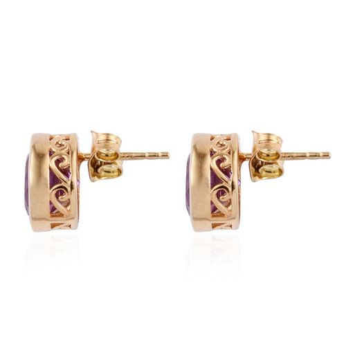 Lavender Alexite (Rnd) Stud Earrings (with Push Back) in 14K Gold Overlay Sterling Silver 5.000 Ct.