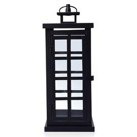 Square Grid Design Black Colour Cage Lantern (Size 34x12 Cm)