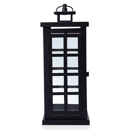 Square Grid Design Black Colour Cage Lantern (Size 34x12 Cm)