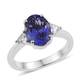 RHAPSODY 950 Platinum 3 Carat AAAA Tanzanite Oval, Diamond VS E-F Ring.