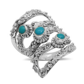 Royal Bali Collection Arizona Sleeping Beauty Turquoise (Rnd) 3 Stone Ring in Sterling Silver 0.560 Ct.