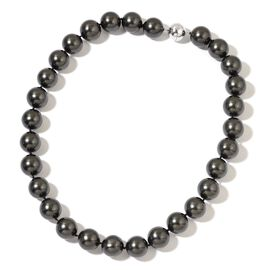 Rare Big Size  Black Shell Pearl (16 mm) Ball Beads Necklace (Size 20) in Rhodium Plated Sterling Silver with Magnetic Clasp