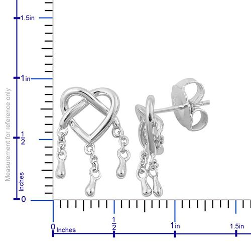 LucyQ Entwine Drip Stud Earrings (with Push Back) in Rhodium Plated Sterling Silver