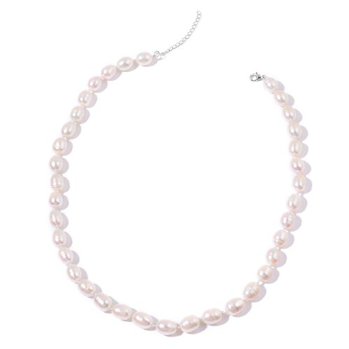 Fresh Water White Pearl Necklace (Size 18 with 2 inch Extender) in Rhodium Plated Sterling Silver