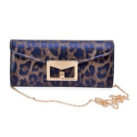 Taupe and Black Colour Leopard Pattern Satin Clutch Bag with Chain Strap (Size 25x11.5x5 Cm)