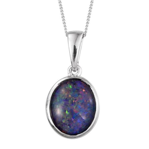 Australian Boulder Opal (Ovl) Solitaire Pendant With Chain in Platinum Overlay Sterling Silver 2.750 Ct.